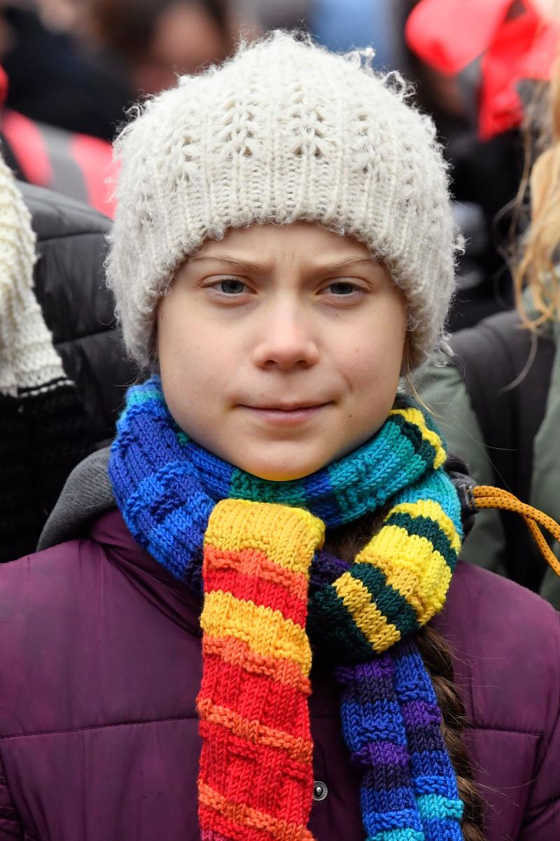 """Swedish climate activist Greta Thunberg takes part in a """"Youth Strike 4 Climate"""" protest march on March 6, 2020 in Brussels."""