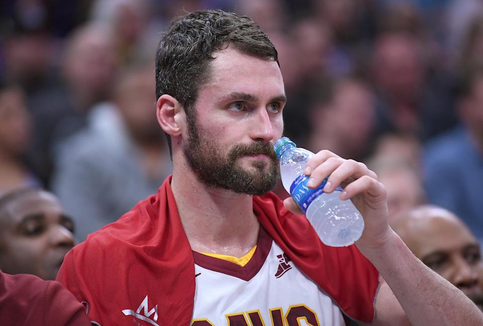 Kevin Love tries to stay hydrated. His doctor told him that's very important. (Getty)