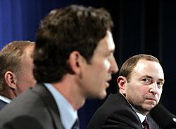 NHL commissioner Gary Bettman, right, listens as former Detroit Red Wings player Brendan Shanahan answers questions during a news conference announcing the end of the lockout Friday, July 22, 2005 in New York