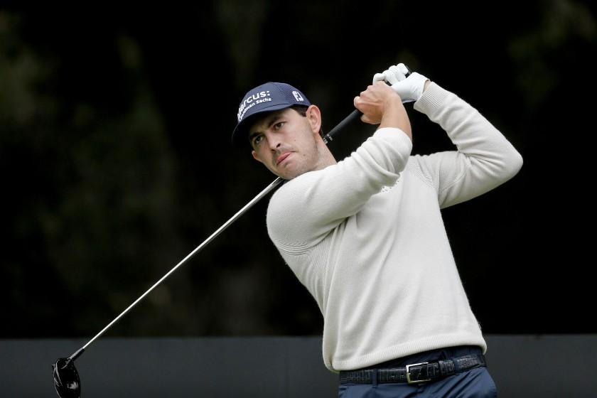 Patrick Cantlay hits from the second tee during the final round of the Zozo Championship.