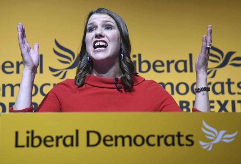 Jo Swinson speaks in London Monday July 22, 2019, after being elected leader of the Liberal Democrats. The centrist Liberal Democrats, who have seen a surge in support thanks to their strongly anti-Brexit stance, also chose a new leader on Monday. Jo Swinson, a 39-year-old lawmaker from Scotland, defeated former energy minister Ed Davey in a poll of party members. (Stefan Rousseau/PA via AP)