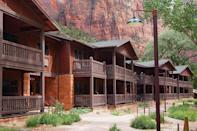 "<p>As the only lodge inside Utah's Zion National Park, <a href=""https://www.zionlodge.com/"" rel=""nofollow noopener"" target=""_blank"" data-ylk=""slk:Zion Lodge"" class=""link rapid-noclick-resp"">Zion Lodge</a> was designed by Gilbert Stanley Underwood in 1924. A fire destroyed the original lodge in 1966; it was quickly rebuilt without its original rustic look but restored to its historic design during a 1990 renovation. Today, guests can experience views of the park's majestic red sandstone cliffs from private porches of the 40 cabins or the main lodge rooms' balconies. Zion Lodge is a member of Historic Hotels of America.</p>"