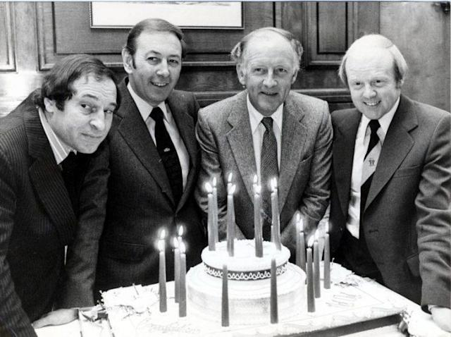 Cliff Morgan, David Coleman, Frank Bough and Tony Gubba celebrate the 21st birthday of Grandstand in 1979