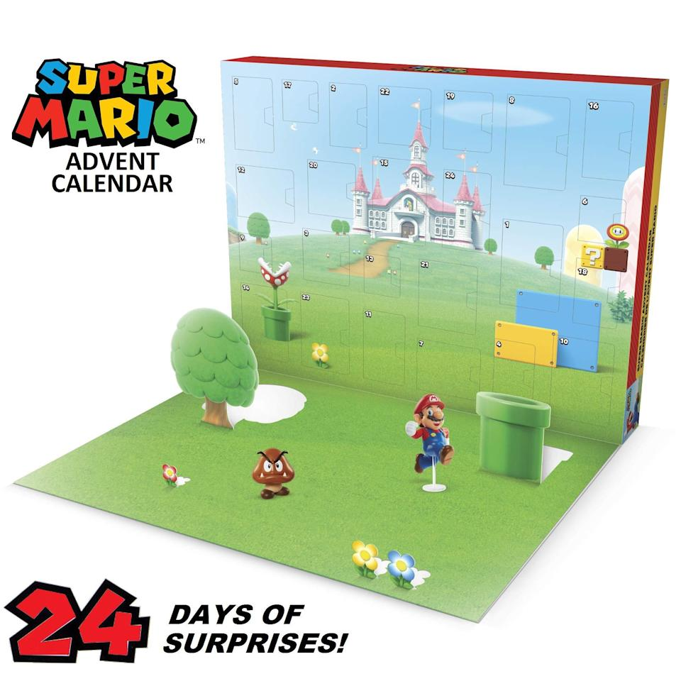 "<h3>Nintendo Super Mario Advent Calendar</h3><br>For the gamer in your life, this retro-inspired Super Mario advent calendar will basically feel like getting an IRL floating Super Star. From tiny figurines to cute accessories, this is a prezzie sure to delight.<br><br><strong>Nintendo</strong> Super Mario Advent Calendar, $, available at <a href=""https://amzn.to/3n4ErxT"" rel=""nofollow noopener"" target=""_blank"" data-ylk=""slk:Amazon"" class=""link rapid-noclick-resp"">Amazon</a>"