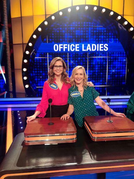 PHOTO: Angela Kinsey with podcast co-host and former co-star Jenna Fischer on 'Family Feud.' (Courtesy of Angela Kinsey)