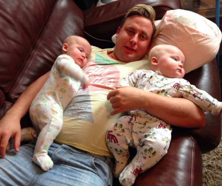 Mr Murrell, pictured with his twins, had been working long shifts to save money for an anniversary present (Picture: Caters)