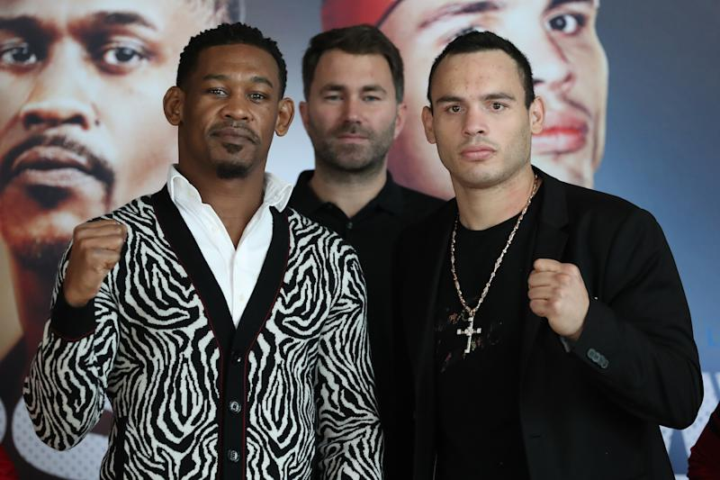 Promoter Eddie Hearn of Matchroom Boxing USA (Center) poses with Daniel Jacobs (L) and Julio Cesar Chavez Jr. (R) on Nov. 8 in Los Angeles. (Courtesy Ed Mulholland/Matchroom Boxing USA)
