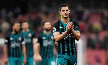 Soccer Football - Premier League - Arsenal vs Southampton - Emirates Stadium, London, Britain - April 8, 2018 Southampton's Cedric Soares applauds fans after the match Action Images via Reuters/Tony O'Brien/Files