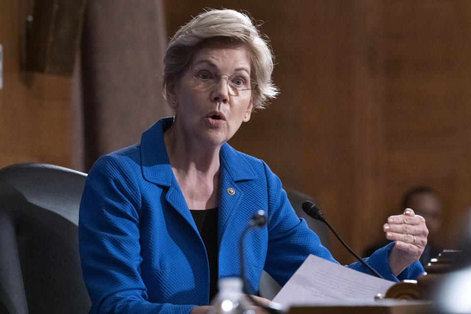 Sen. Elizabeth Warren, D-Mass., speaks during the hearing of Federal Reserve Board Chair Jerome Powell, before Senate Banking, Housing, and Urban Affairs hearing to examine the Semiannual Monetary Policy Report to Congress, on Capitol Hill in Washington Thursday, July 15, 2021. (AP Photo/Jose Luis Magana)