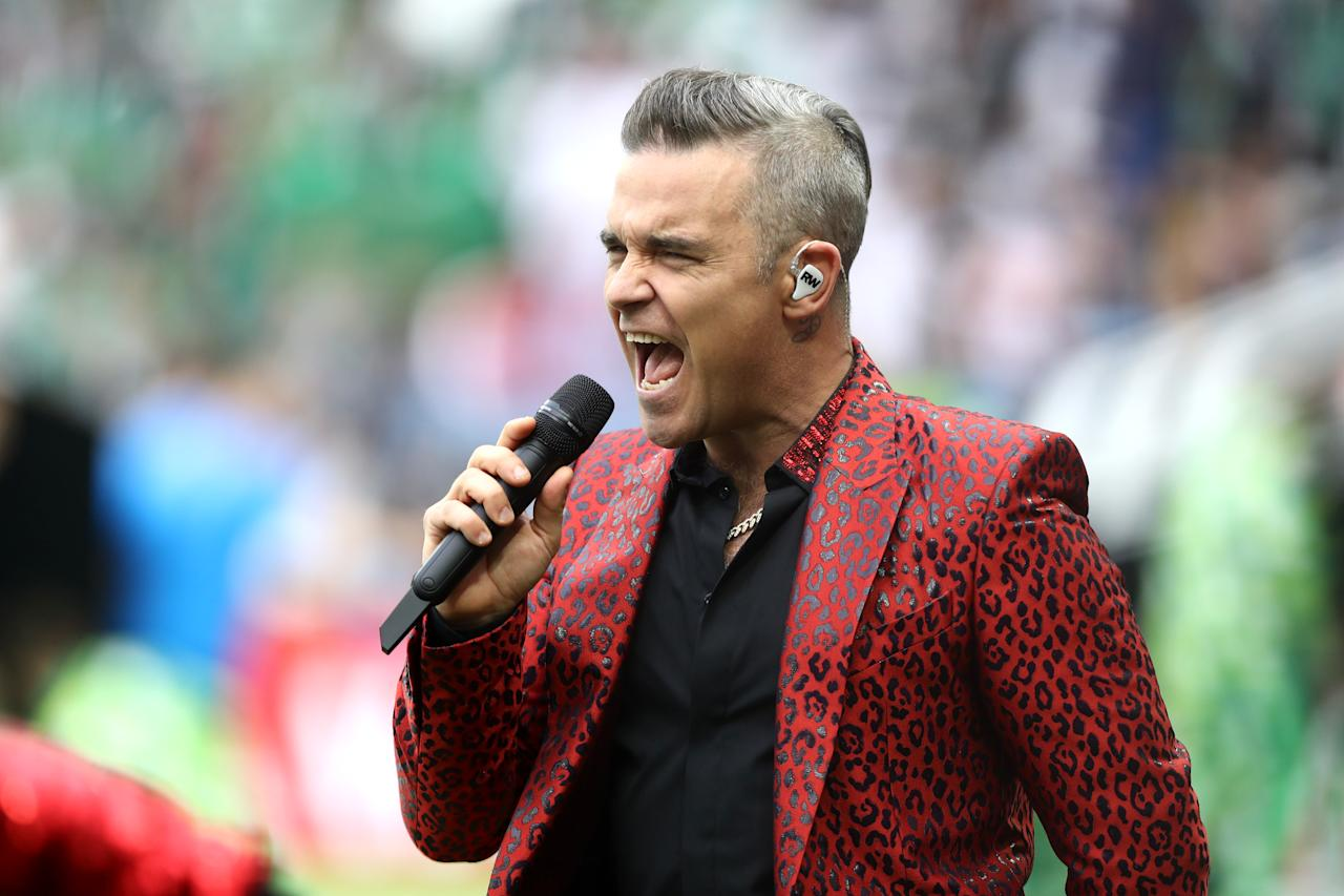 <p>Robbie Williams at the 2018 FIFA World Cup opening ceremony at Luzhniki Stadium on June 14, 2018 in Moscow, Russia. </p>