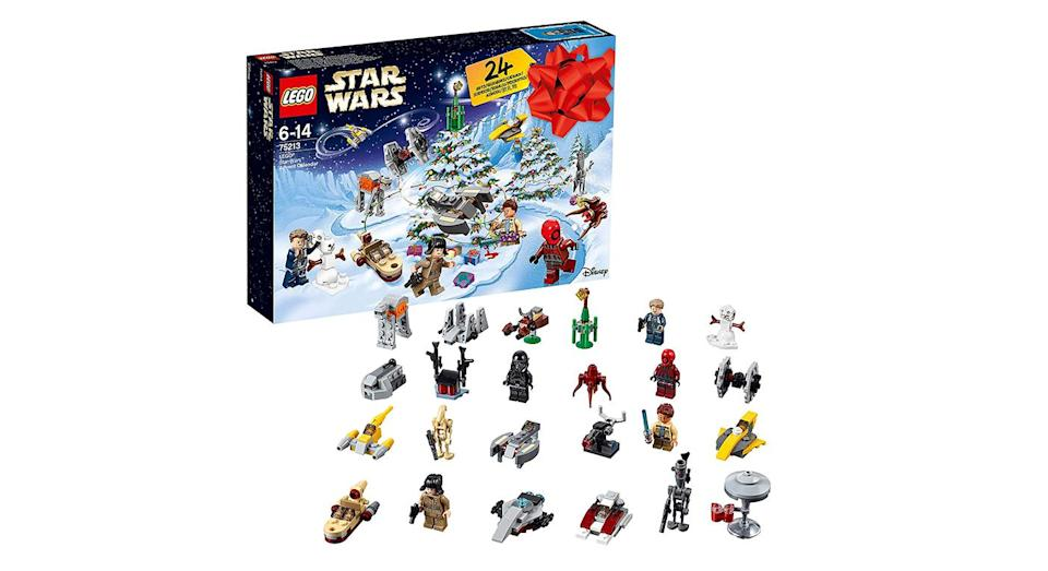 """<p>Every door hides a different LEGO Star Wars themed figure, from a naboo starfighter to a death trooper. There's a festive twist, too: also included is a moisture vaporator and a snowman. A foldout playmet provided serves as the ideal landscape for your final collection. <a rel=""""nofollow noopener"""" href=""""https://www.amazon.co.uk/Lego-Advent-Calendars/dp/B07HXCG966"""" target=""""_blank"""" data-ylk=""""slk:Available from Amazon."""" class=""""link rapid-noclick-resp""""><em>Available from Amazon.</em></a> </p>"""