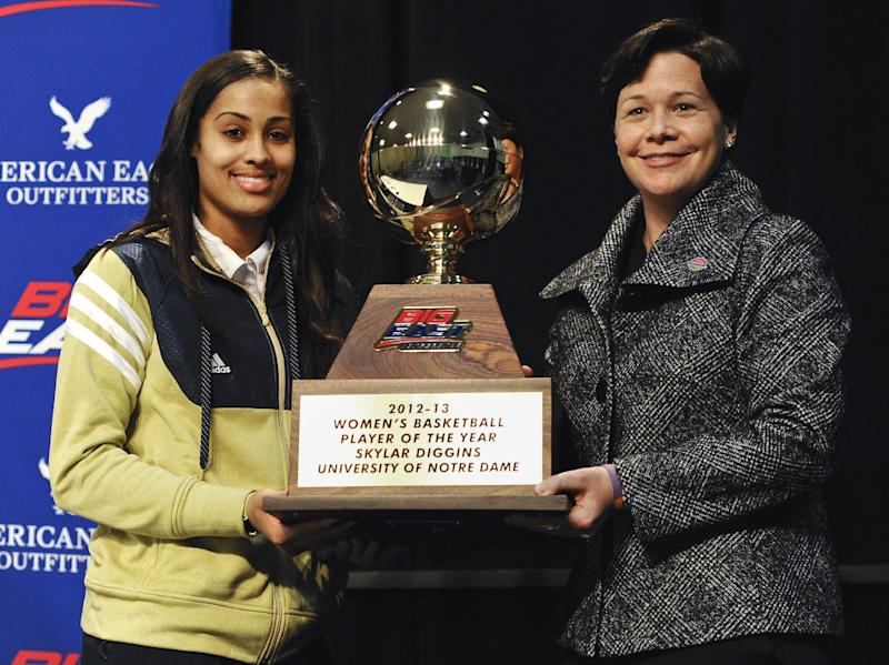 Notre Dame's Skylar Diggins, left, receives the Big East Conference's women's basketball player of the year award from associate commissioner Danielle Donehew in Hartford, Conn., Friday, March 8, 2013.(AP Photo/Jessica Hill)