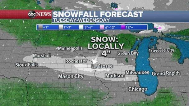 PHOTO: 4 states from Minnesota to Michigan are under Winter Weather Advisory for the snow to come later today into Wednesday morning. (ABC News)