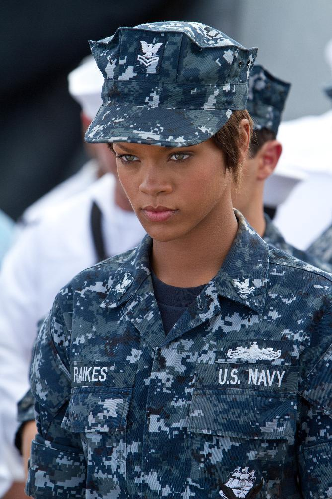"""FILE- In this file film image provided by Universal Pictures, Rihanna is shown in a scene from """"Battleship."""" On Saturday, Feb. 23, 2013, at the 33rd Annual Razzie Awards, Rihanna was awarded worst supporting actress for """"Battleship."""" (AP Photo/Universal Pictures, File)"""