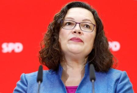 Leader of Social Democratic Party (SPD) Andrea Nahles attends a news conference after Bavaria state election, in Berlin