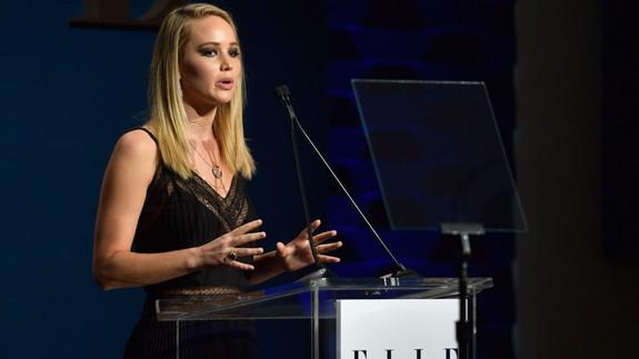 "<img alt=""""/><p>Jennifer Lawrence is joining the many voices in Hollywood standing up against inappropriate treatment of women.</p> <p>A week after dozens of women accused big-time producer <a rel=""nofollow"" href=""http://mashable.com/category/harvey-weinstein/?utm_campaign=Mash-BD-Synd-Yahoo-Ent-Partial&utm_cid=Mash-BD-Synd-Yahoo-Ent-Partial"">Harvey Weinstein</a> of sexually harassing and assaulting them, the <a rel=""nofollow"" href=""http://www.elle.com/culture/celebrities/a13032602/jennifer-lawrence-harassment-hollywood/"">actress spoke</a> at <em>Elle</em>'s 24th annual Women in Hollywood celebration to share a ""humiliating"" and ""degrading"" experience she faced early in her career.</p> <div><p>SEE ALSO: <a rel=""nofollow"" href=""http://mashable.com/2017/10/16/kate-winslet-harvey-weinstein-oscars-speech/?utm_campaign=Mash-BD-Synd-Yahoo-Ent-Partial&utm_cid=Mash-BD-Synd-Yahoo-Ent-Partial"">Kate Winslet refused to thank Harvey Weinstein in her 2009 Oscars speech</a></p></div> <p>""When I was much younger and starting out, I was told by the producers of a film to lose 15 pounds in two weeks,"" Lawrence said at the Monday night event. She went on to explain that another actress had already been fired because she was unable to lose weight quick enough for the producers. Then things got even worse.</p> <p>""During this time a female producer had me do a nude line-up with about five women who were much, much, thinner than me,"" Lawrence recalled.</p> <p>""We stood side-by-side with only paste-ons covering our privates. After that degrading and humiliating line-up, the female producer told me I should use the naked photos of myself as inspiration for my diet.""</p> <div><div><blockquote> <p>Listen to J-Law's story of abuse in Hollywood: I was told to lose 15 pounds in 2 wks, do degrading, nude photo shoot <a rel=""nofollow"" href=""https://twitter.com/hashtag/ELLEWIH?src=hash&ref_src=twsrc%5Etfw"">#ELLEWIH</a> <a rel=""nofollow"" href=""https://t.co/yosXP9tFXw"">pic.twitter.com/yosXP9tFXw</a></p> <p>— Carly Mallenbaum (@ThatGirlCarly) <a rel=""nofollow"" href=""https://twitter.com/ThatGirlCarly/status/920222072361668608?ref_src=twsrc%5Etfw"">October 17, 2017</a></p> </blockquote></div></div> <p>The actress also shared with the crowd that when she asked to speak to a male producer about the ""unrealistic diet regime"" he simply told her he ""didn't know why everyone thought I was so fat"" and he thought she ""was perfectly 'fuckable,'"" per <a rel=""nofollow"" href=""http://www.elle.com/culture/celebrities/a13032602/jennifer-lawrence-harassment-hollywood/"">an <em>Elle</em> writeup</a> of the event. </p> <p>Lawrence explained that she felt ""trapped"" by the situation and in a place where she didn't want to negatively impact her career. But after being cast in <em>The Hunger Games</em> she felt as though she had more power to use her voice to speak up.</p>  <p>Though Lawrence acknowledged the great sadness that's resulted from so many women coming forward with tragic stories of assault and harassment, she described the experience as ""oddly unifying.""</p> <p>""I want you to know we're here for you. We're all here for each other. Together, now, we will stop this kind of behavior from happening,"" she said, per <em>Elle</em>. ""We will stop normalizing these horrific situations. We will change this narrative and make a difference for all of those individuals pursuing their dreams.""</p> <p>Lawrence was one of eight honorees at the event, including Reese Witherspoon, who <a rel=""nofollow"" href=""http://mashable.com/2017/10/17/reese-witherspoon-assault-story/?utm_campaign=Mash-BD-Synd-Yahoo-Ent-Partial&utm_cid=Mash-BD-Synd-Yahoo-Ent-Partial"">shared</a> a personal account of sexual assault in Hollywood with the audience.</p> <p>Following the Weinstein news, Alyssa Milano <a rel=""nofollow"" href=""http://mashable.com/2017/10/15/me-too-alyssa-milano-twitter-harassment/?utm_campaign=Mash-BD-Synd-Yahoo-Ent-Partial&utm_cid=Mash-BD-Synd-Yahoo-Ent-Partial"">created the #MeToo hashtag</a> to encourage people to share their stories of sexual harassment and assault on social media to raise awareness of how pressing and widespread the problem is. And ever since, <a rel=""nofollow"" href=""http://mashable.com/2017/10/16/me-too-hashtag-popularity/?utm_campaign=Mash-BD-Synd-Yahoo-Ent-Partial&utm_cid=Mash-BD-Synd-Yahoo-Ent-Partial"">thousands of people</a> have used the hashtag to speak out.</p> <div> <h2><a rel=""nofollow"" href=""http://mashable.com/2017/08/16/mark-ruffalo-olivia-wilde-protest-trump/?utm_campaign=Mash-BD-Synd-Yahoo-Ent-Partial&utm_cid=Mash-BD-Synd-Yahoo-Ent-Partial"">WATCH: Mark Ruffalo, Olivia Wilde, and more celebs led a powerful protest at Trump Tower</a></h2> <div> <p><img alt=""Https%3a%2f%2fblueprint api production.s3.amazonaws.com%2fuploads%2fvideo uploaders%2fdistribution thumb%2fimage%2f81291%2fb1a2511e e291 4967 b331 0d58e317d113""></p>   </div> </div>"