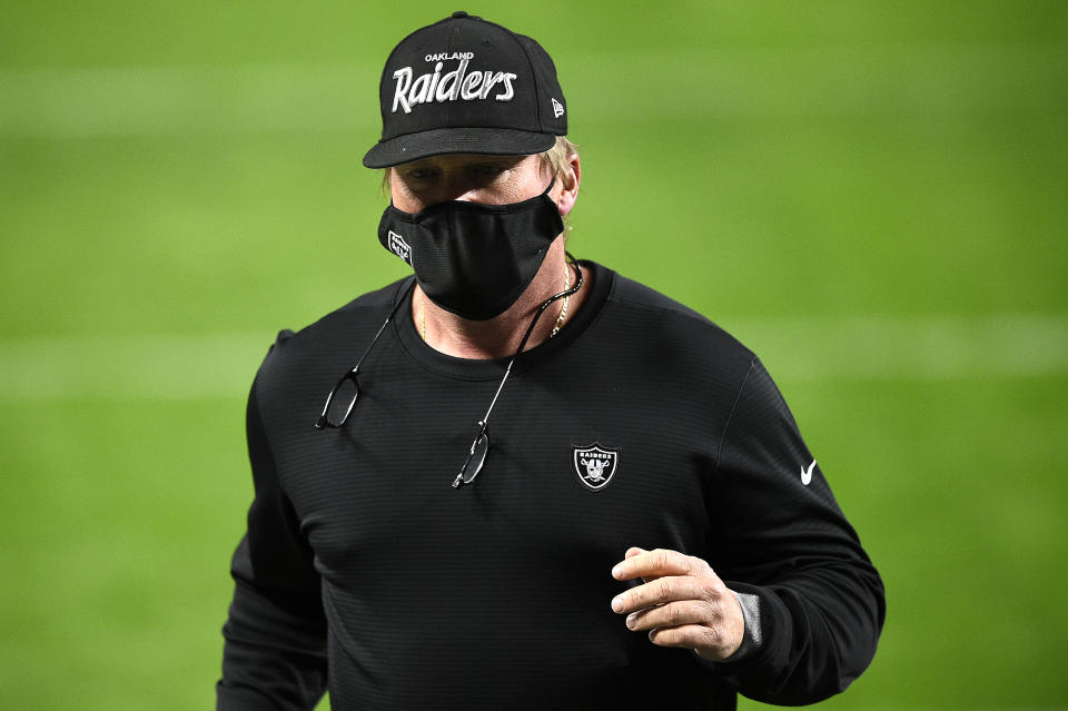 Coach Jon Gruden of the Las Vegas Raiders wearing his Oakland Raiders hat. (Photo by Chris Unger/Getty Images)
