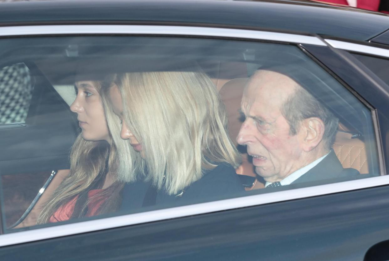 The Duke of Kent arrives with granddaughters Lady Amelia Windsor (centre) and Lady Marina Windsor, for the Queen's Christmas lunch at Buckingham Palace, London. (Photo by Aaron Chown/PA Images via Getty Images)