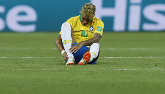Brazil's Neymar reacts during the group E match between Brazil and Switzerland at the 2018 soccer World Cup in the Rostov Arena in Rostov-on-Don, Russia, Sunday, June 17, 2018. (AP Photo/Darko Vojinovic)