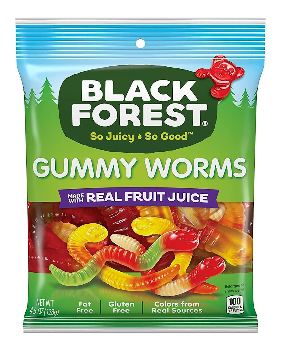 """<p>It doesn't get much better than squirmy, wormy gummies for <a class=""""link rapid-noclick-resp"""" href=""""https://www.popsugar.co.uk/Halloween"""" rel=""""nofollow noopener"""" target=""""_blank"""" data-ylk=""""slk:Halloween"""">Halloween</a>! These <span>Black Forest Organic Gummy Worms</span> ($17 for 12 bags) are a huge step up from traditional creepy-crawlies with their organic, all-natural ingredients.</p>"""