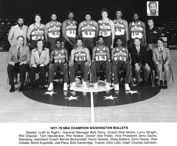 Elvin Hayes (11) and Wes Unseld (41) anchored the middle for Washington's only title team.