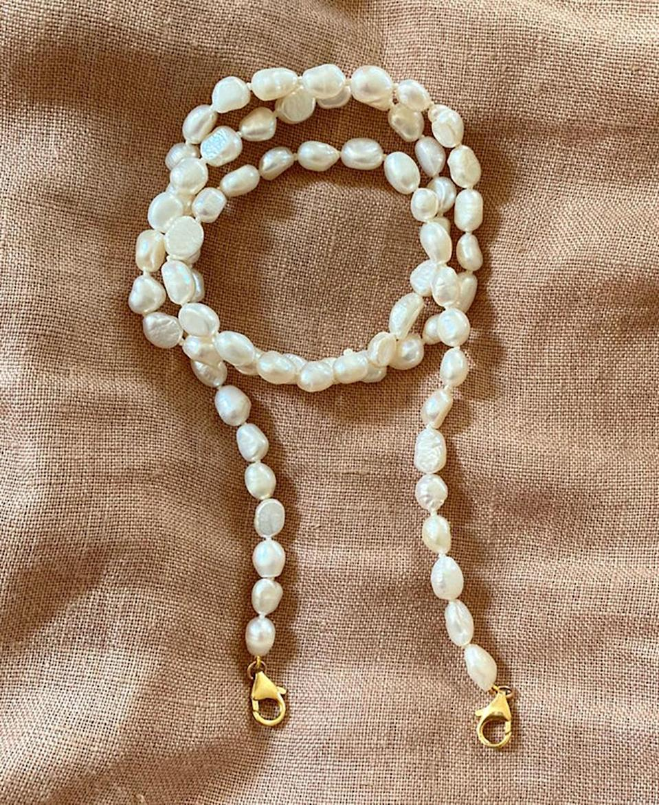"""<a href=""""https://www.glamour.com/gallery/pearl-jewelry-trend?mbid=synd_yahoo_rss"""" rel=""""nofollow noopener"""" target=""""_blank"""" data-ylk=""""slk:Organic pearls"""" class=""""link rapid-noclick-resp"""">Organic pearls</a> were the unexpected trend we got behind during spring, and we're not against bringing them into our fall wardrobes. $92, Etsy. <a href=""""https://www.etsy.com/listing/845558438/baroque-pearl-beaded-face-mask-chain"""" rel=""""nofollow noopener"""" target=""""_blank"""" data-ylk=""""slk:Get it now!"""" class=""""link rapid-noclick-resp"""">Get it now!</a>"""