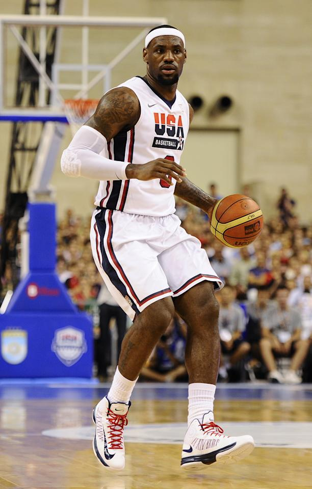 BARCELONA, SPAIN - JULY 22:  LeBron James #6 of the US Men's Senior National Team runs the ball during a Pre-Olympic Men's Exhibition Game between USA and Argentina at Palau Sant Jordi, on July 22, 2012 in Barcelona, Spain.  (Photo by David Ramos/Getty Images)