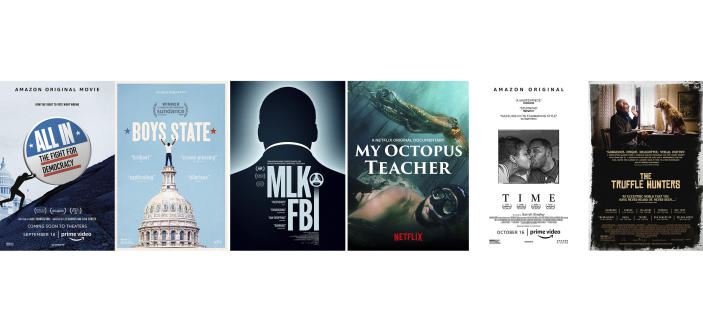 """This combination of photos shows poster art for documentaries, from left, """"All In: The Fight for Democracy,"""" """"Boys State,"""" """"MLK/FBI,"""" """"My Octopus Teacher,"""" """"Time"""" and """"The Truffle Hunters,"""" which are among the 15 films advancing in the Documentary Feature category for the 93rd Academy Awards. (Amazon/Apple TV+/IFC Films/Netflix/Amazon/Sony Pictures Classics via AP)"""