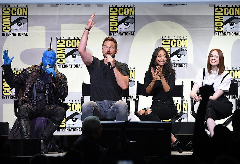<p>Michael Rooker, Chris Pratt, Zoe Saldana, and Karen Gillan were on hand on July 23 to show off new footage from the sequel. <i>(Photo: Kevin Winter/Getty Images)</i></p>