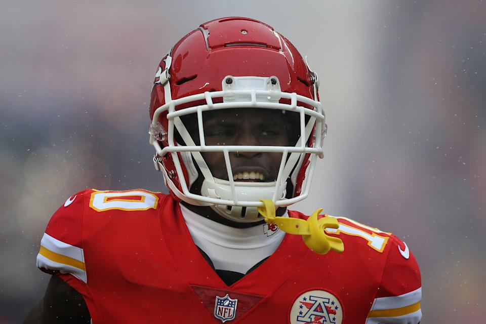 KANSAS CITY, MO - JANUARY 12: Kansas City Chiefs wide receiver Tyreek Hill (10) runs onto the field before an AFC Divisional Round playoff game game between the Indianapolis Colts and Kansas City Chiefs on January 12, 2019 at Arrowhead Stadium in Kansas City, MO.  (Photo by Scott Winters/Icon Sportswire via Getty Images)