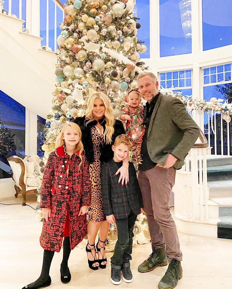 """""""Wishing you a very Merry Christmas from our family to yours 🎄,"""" Simpson <a href=""""https://www.instagram.com/p/B6f_crgnixG/"""">captioned</a> her festive family photo."""