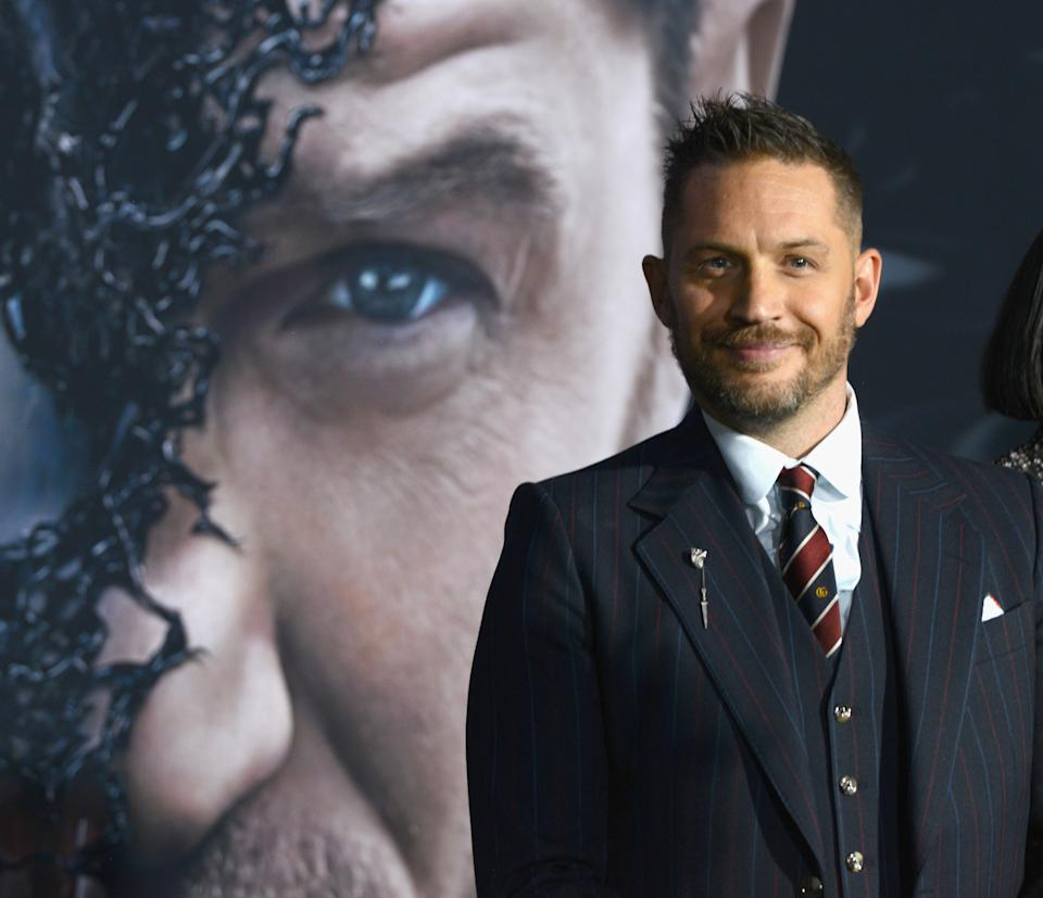 """WESTWOOD, CA - OCTOBER 01:  Actor Tom Hardy arrives for Premiere Of Columbia Pictures' """"Venom"""" held at Regency Village Theatre on October 1, 2018 in Westwood, California.  (Photo by Albert L. Ortega/Getty Images)"""