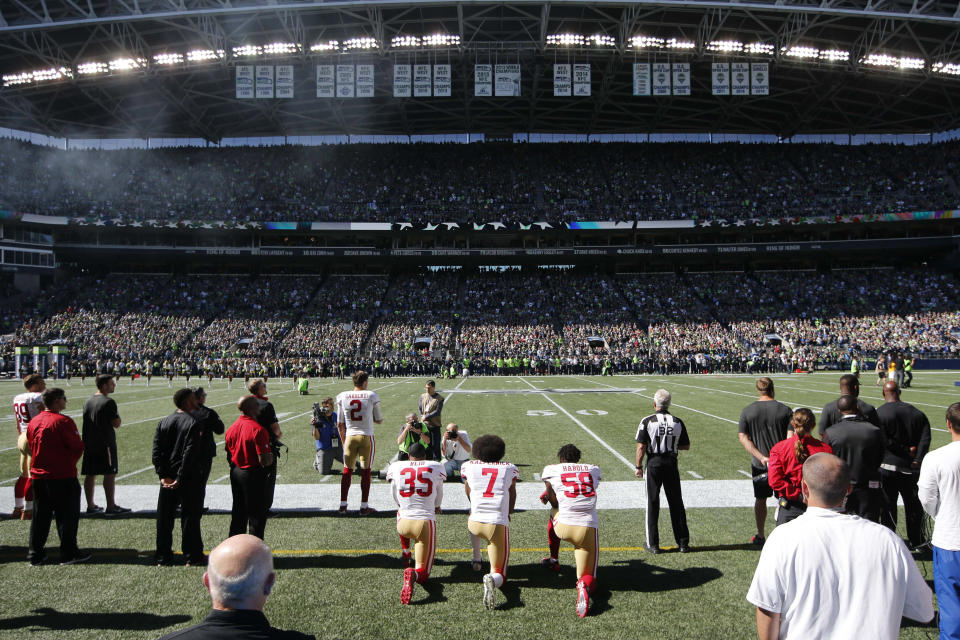 Colin Kaepernick's protest in 2016 is still resonating with many four years later. (Joe Nicholson/USA TODAY Sports)