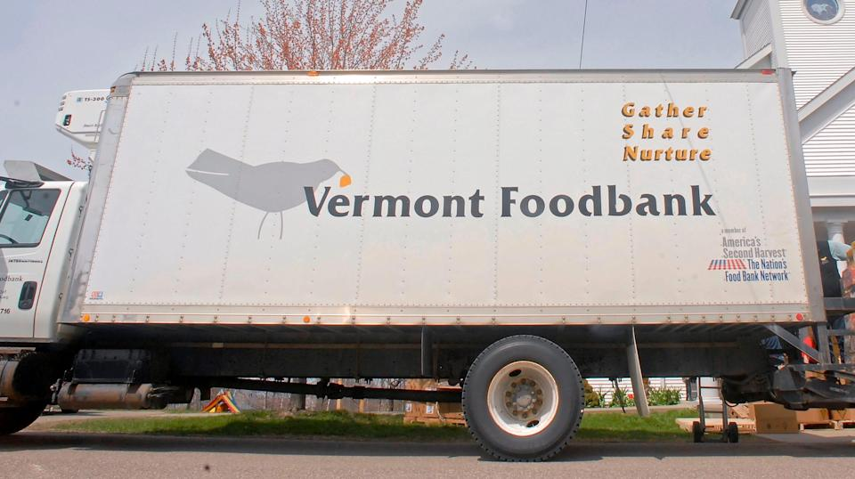 A Vermont Foodbank truck delivers food.
