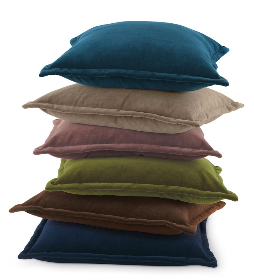 """<p>We've already told you how much <a rel=""""nofollow"""" href=""""http://www.instyle.com/lifestyle/home-decorating/shop-chic-velvet-home-decor-finds"""">we love velvet</a> this season, and this pillow is another way bring the trend home.</p> <p>$44 each   <a rel=""""nofollow"""" href='http://click.linksynergy.com/fs-bin/click?id=93xLBvPhAeE&subid=0&offerid=483151.1&type=10&tmpid=5463&RD_PARM1=http%253A%252F%252Fwww.neimanmarcus.com%252FHenri-Flanged-Velvet-Pillow%252Fprod150200223%252Fp.prod&u1=InStyle'>Neiman Marcus</a></p>"""