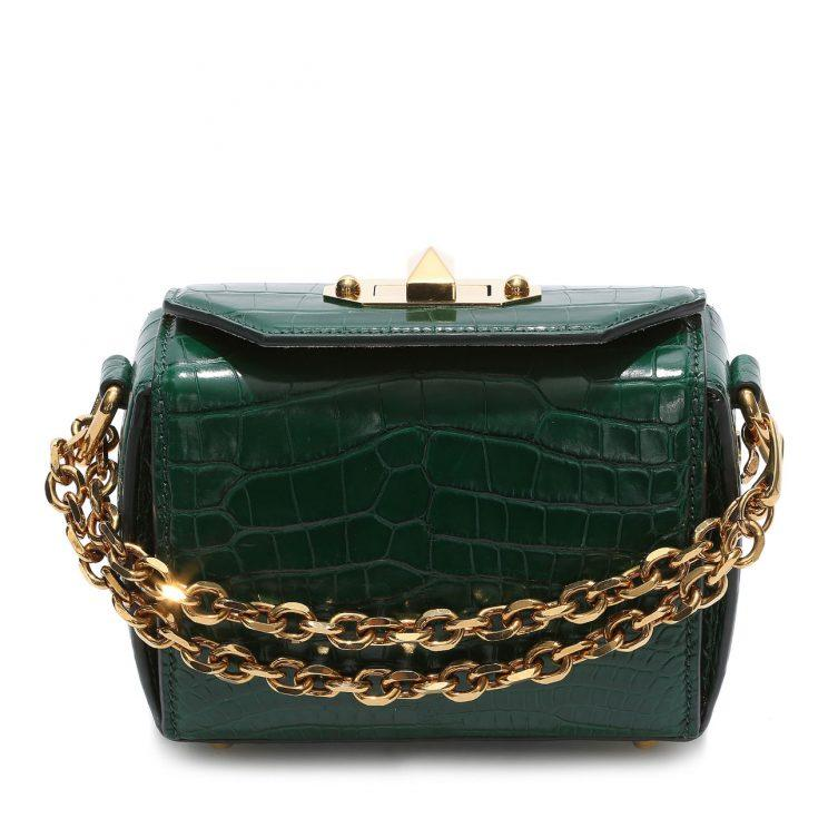Alexander McQueen's Box Bag in an embossed croc green