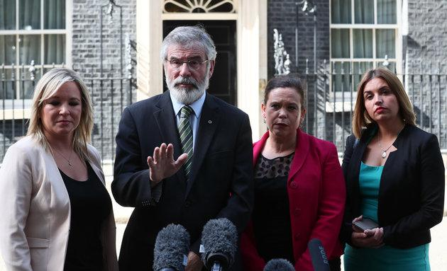 Sinn Fein's Northern Ireland leader Michelle O'Neill, Sinn Fein's party president Gerry Adams, Sinn Fein deputy leader Mary Lou McDonald and Sinn Fein MP Elisha McCallion