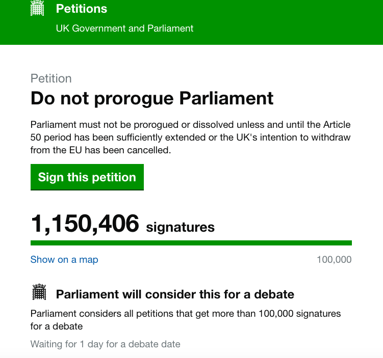 The petition to halt Parliament has topped a million signatures (Grab)