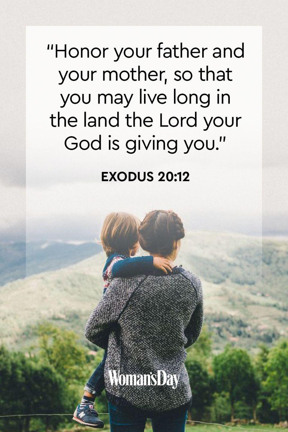 "<p>""Honor your father and your mother, so that you may live long in the land the Lord your God is giving you.""</p><p><strong>The Good News: </strong>If you honor your father and mother by treating them with respect, patience, and dignity, then you will live a satisfying and fulfilling life. God will made your journey rewarding in the end.</p>"