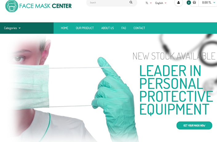 Image of FaceMaskCenter.com, a fake website that purported to cell N95 respirator masks, as part of a terrorist campaign to raise cryptocurrency funds.