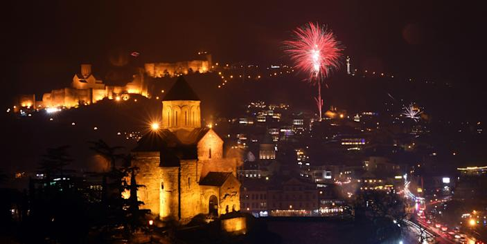 Fireworks explode over the old town of Tbilisi. (Photo: Vano Shlamov/AFP/Getty Images)