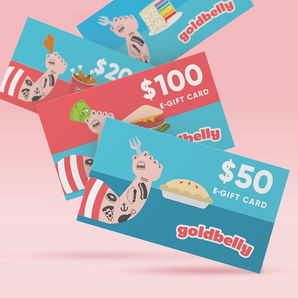 """<p><strong>Gift Cards + Merch</strong></p><p>goldbelly.com</p><p><strong>$100.00</strong></p><p><a href=""""https://go.redirectingat.com?id=74968X1596630&url=https%3A%2F%2Fwww.goldbelly.com%2Fgoldbelly-gift-cards%2Fe-gift-card%3Fref%3Dmerchant&sref=https%3A%2F%2Fwww.veranda.com%2Fshopping%2Fhome-accessories%2Fg34671332%2Fgifts-for-foodies%2F"""" rel=""""nofollow noopener"""" target=""""_blank"""" data-ylk=""""slk:Shop Now"""" class=""""link rapid-noclick-resp"""">Shop Now</a></p><p>Is your loved one jonesing for their favorite foodie city? Whether they're partial to New York's H&H Bagels or Willa Jean's famous cornbread in NOLA, their favorite food can be delivered right to their door with a little help from Goldbelly. </p>"""