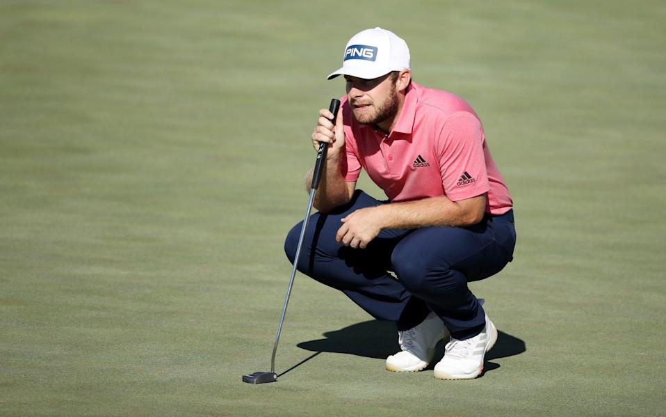 Tyrrell Hatton of England lines up a putt on the 12th green during the final round of The CJ Cup  - Getty Images