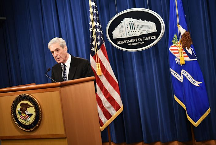 Special Counsel Robert Mueller speaks on the investigation into Russian interference in the 2016 Presidential election, at the Justice Department in Washington, DC, on May 29, 2019.  Mueller said Wednesday that charging US President Donald Trump with a crime of obstruction was not an option because of Justice Department policy.