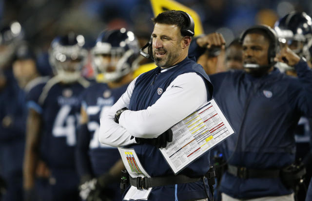 Tennessee Titans head coach Mike Vrabel watches play against the Jacksonville Jaguars during the first half of an NFL football game, Thursday, Dec. 6, 2018, in Nashville, Tenn. (AP Photo/James Kenney)