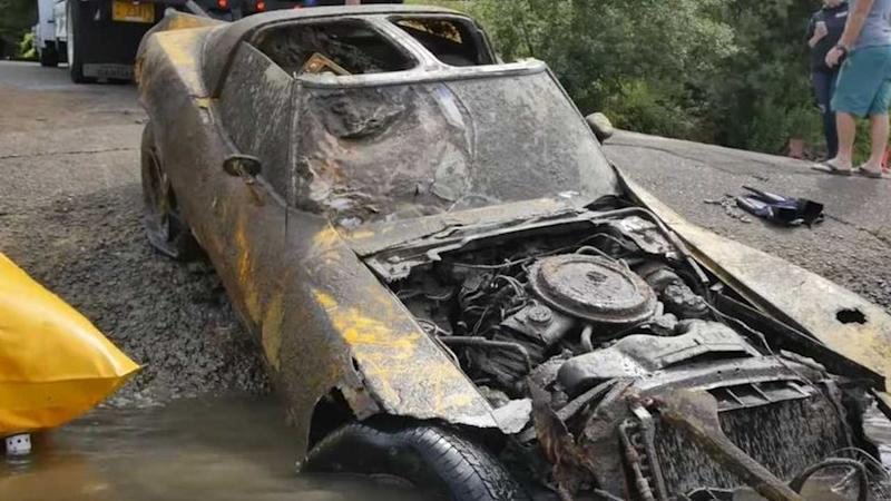 Divers Pull Out Chevy Corvette Submerged Underwater For Decades