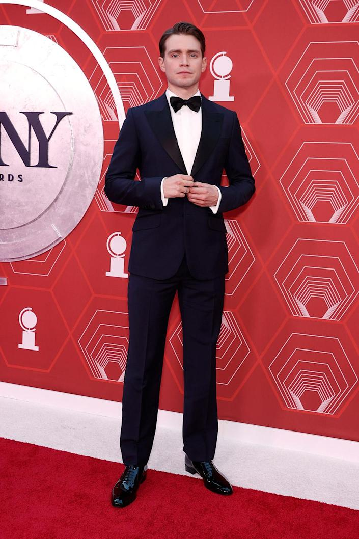 <p>Burnap, who is nominated for best performance by an actor in a leading role in a play for his performance in <em>The Inheritance</em>, looks dapper in a grey tux. </p>