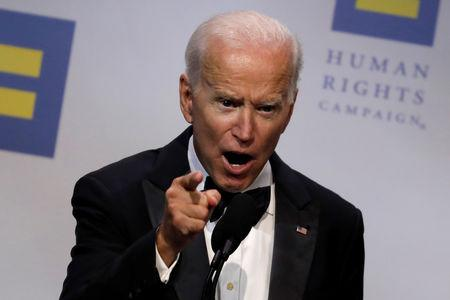 Former U.S. Vice President Joe Biden addresses the Human Rights Campaign dinner in Washington