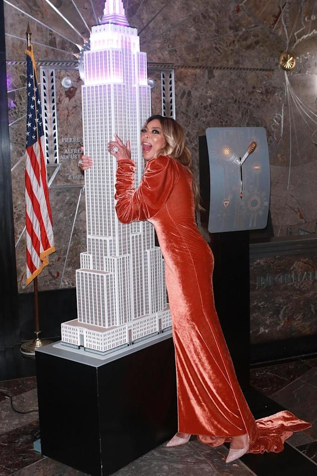 <p>Never one to go unnoticed, Williams definitely stood out during a visit to the Empire State Building, where she toasted her show's ninth season. (Photo: Backgrid) </p>