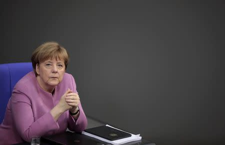 German Chancellor Merkel attends a session of the German lower house of parliament Bundestag in Berlin